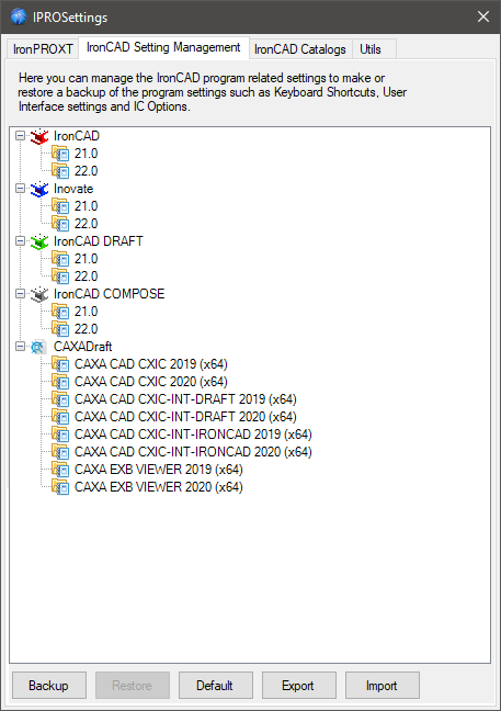 IronCAD Mechanical Settings