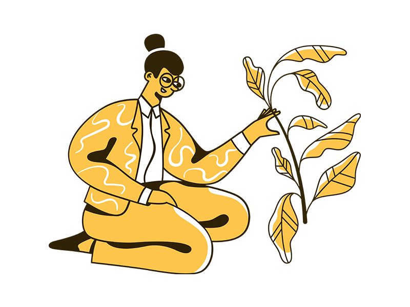 Illustration of a woman, in bright colours, taking care of a plant.