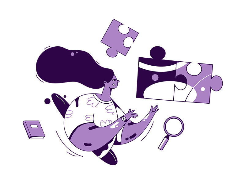 Illustration of a woman holding a magnifying glass and puzzle pieces.