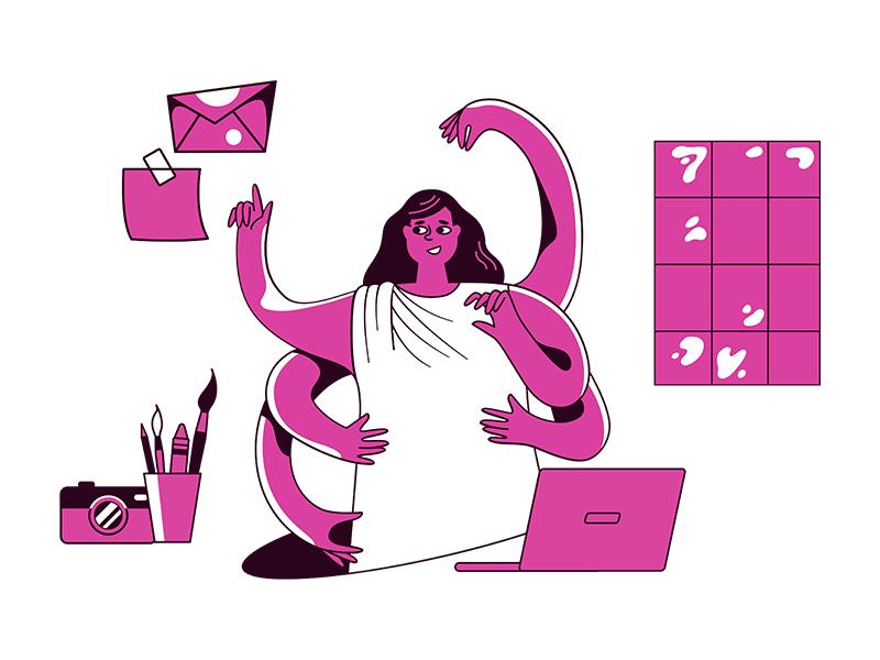 Woman multitasking