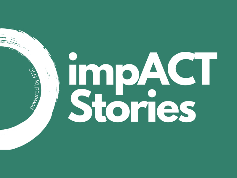 """Graphic image displaying the text """"Impact Stories""""."""