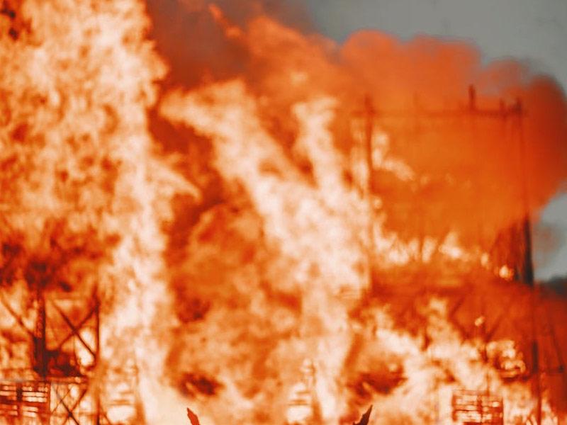 Burning building.