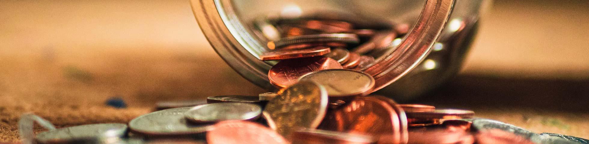 Jar of coins.
