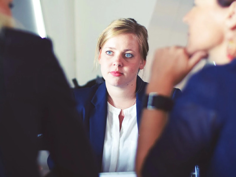 Woman in an interview.