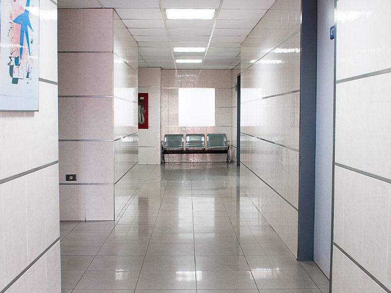 Empty hospital corridor.