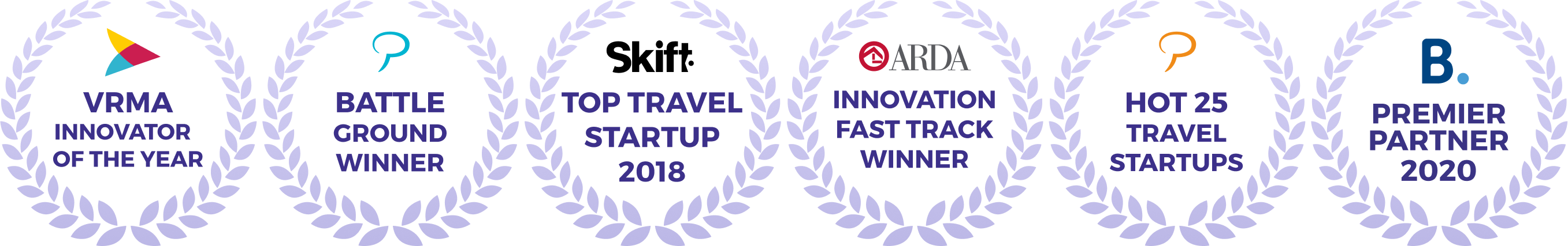 Futurestay's awards granted by: VRMA, Phocuswright, Skift, ARDA, and Booking.com