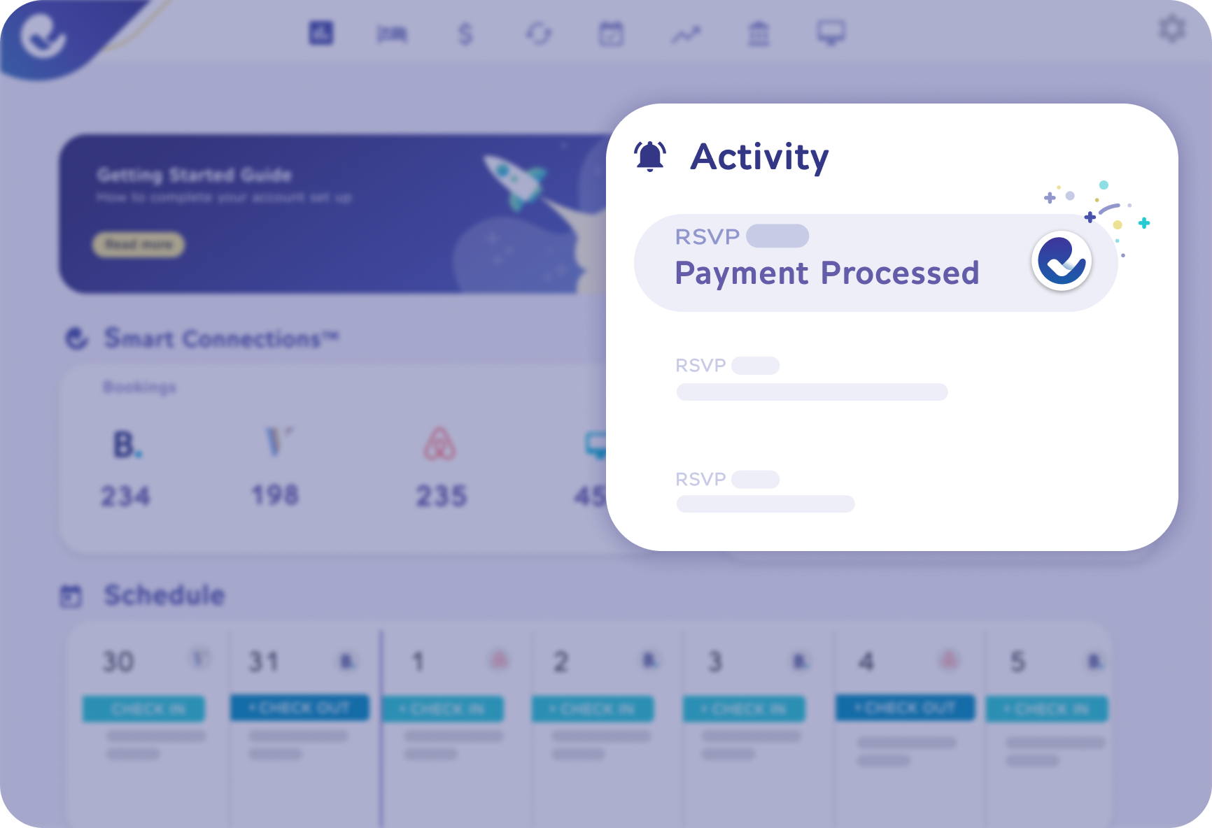 Automated financial transactions in the Futurestay's Dashboard