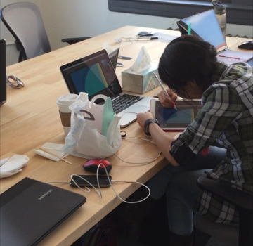 Abbi working on designs