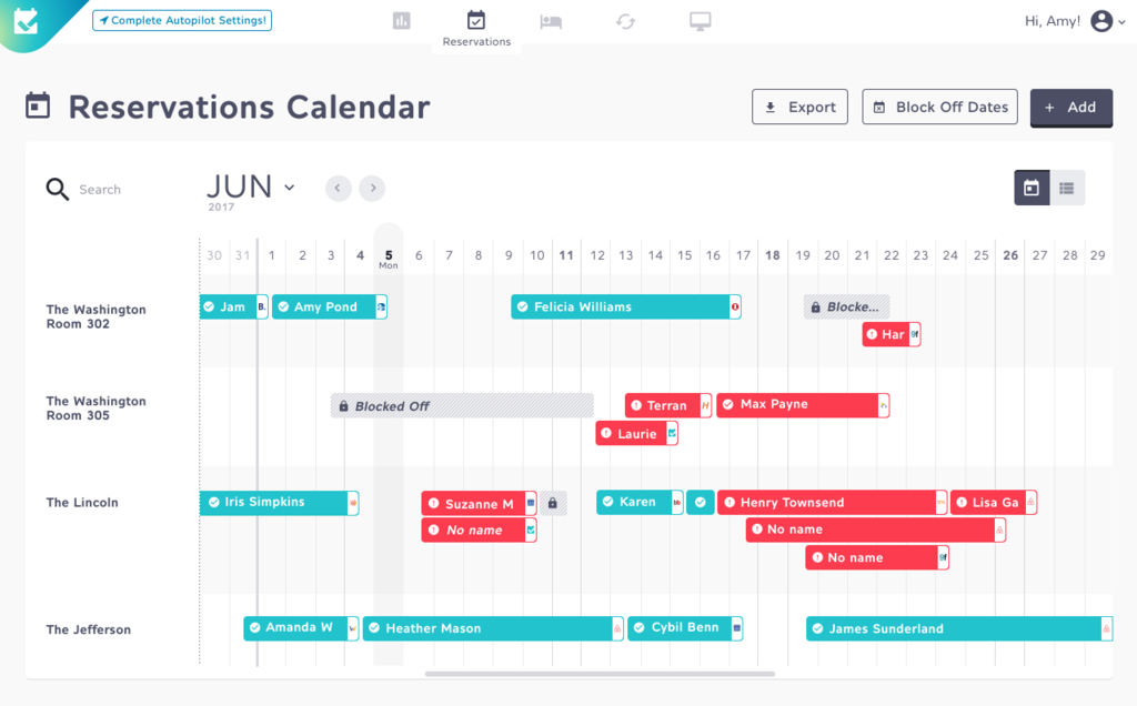 Futurestay New Reservation Calendar View