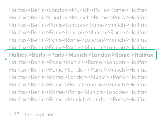 """A graphic of different flight paths naming places like """"Rome"""" and """"Halifax"""" in a list with one flight path highlighted in green."""