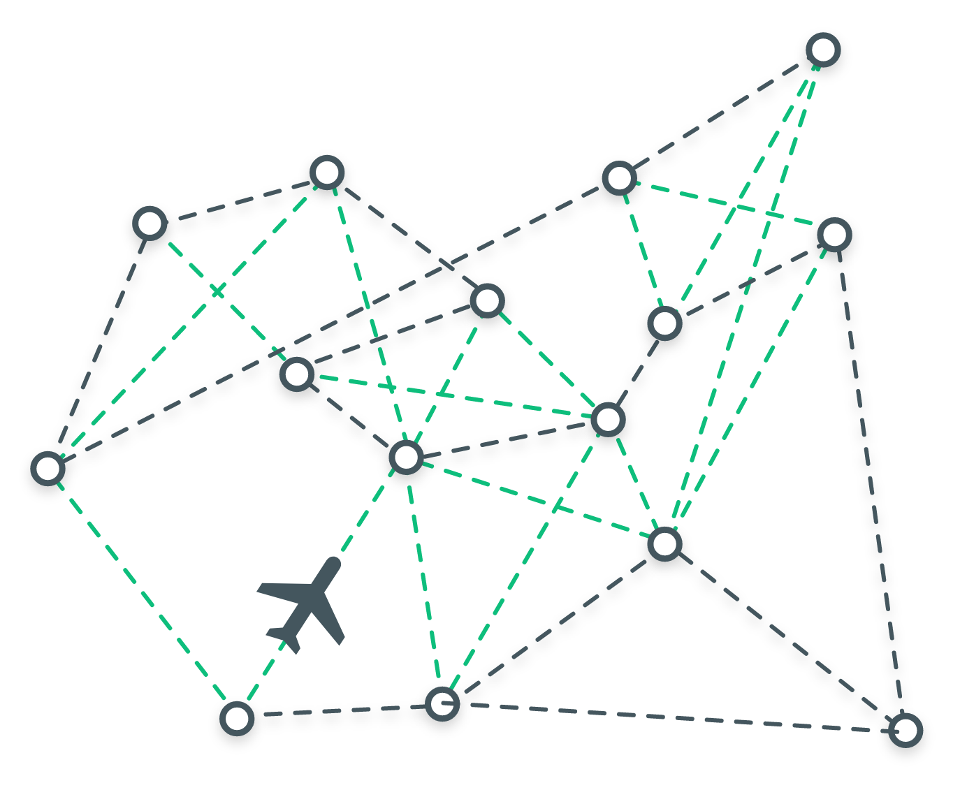 A green and grey graphic showing a small airplane and a web of different flight paths, represented by dotted lines.