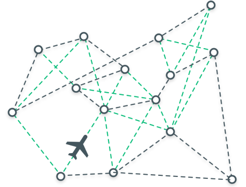 A green and grey graphic of a plane flying through a web of flight paths that are represented by dotted lines.