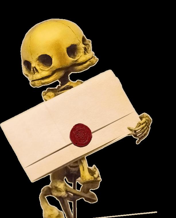 skeleton specimen holding gift voucher