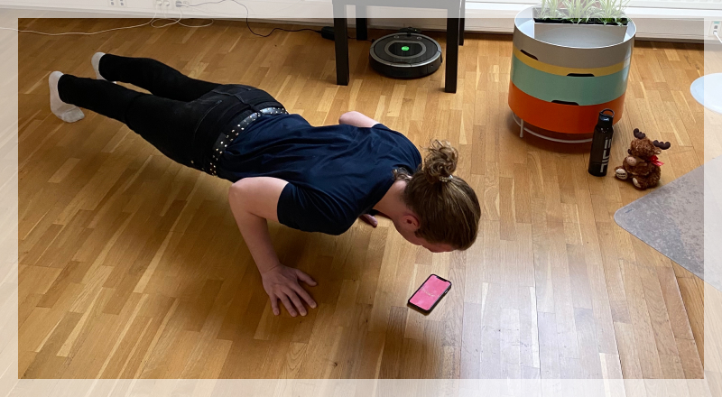Image of a person playing a pushup game