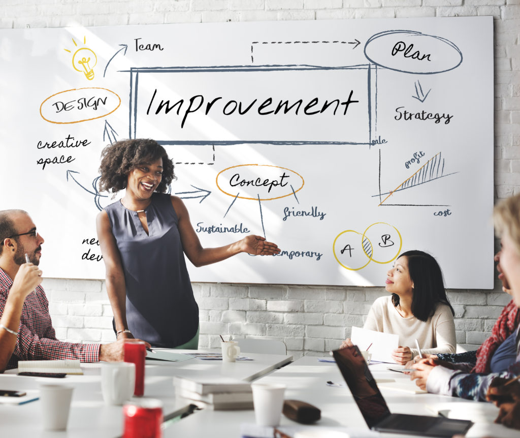 Female leading a discussion regarding product improvement in a meeting room with other company employees
