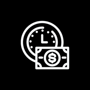 Black background square time and money icon