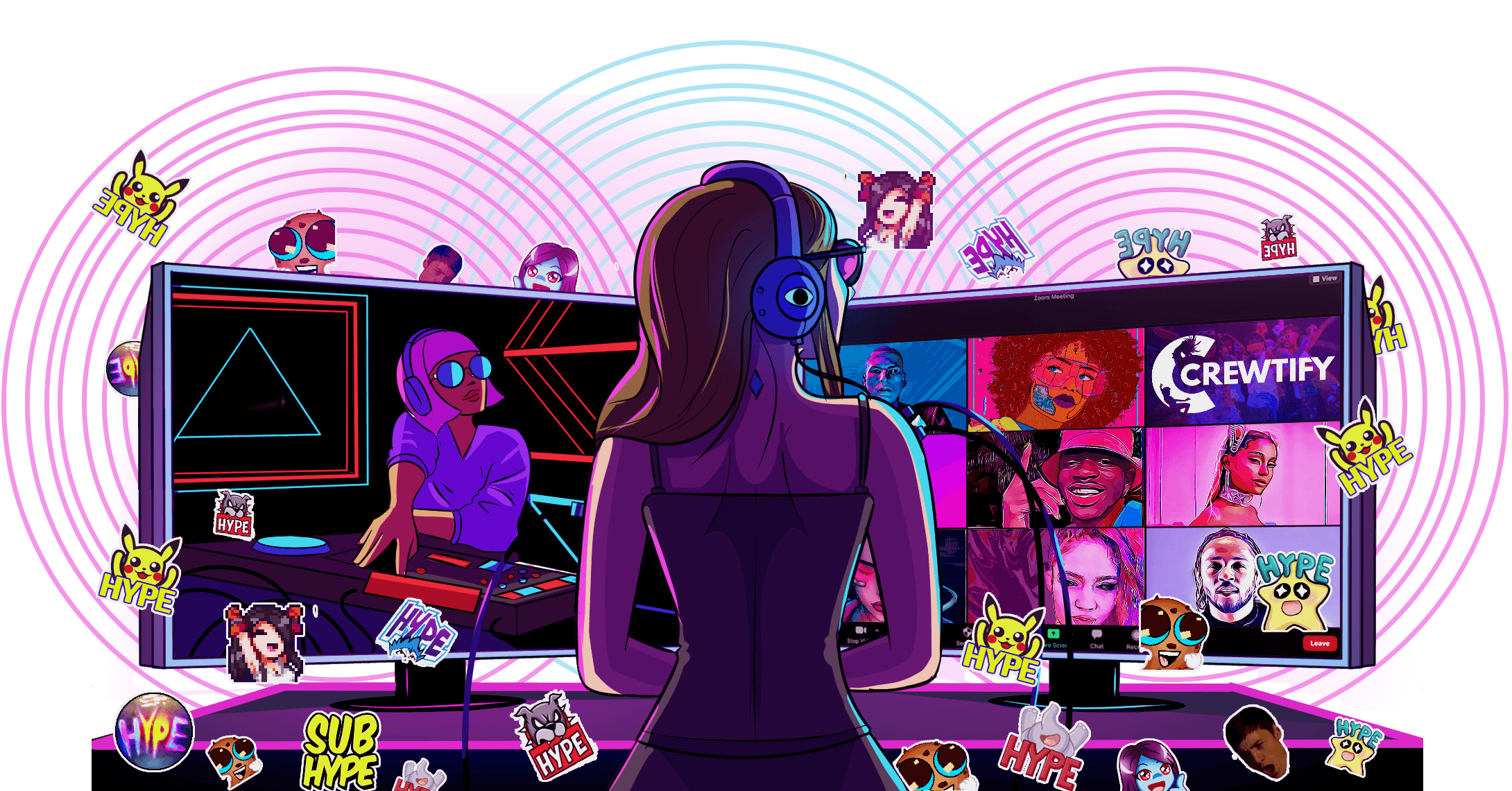 An illustration of online rave experience that involved two monitors: one for watching DJ performances and the other for virtual rave room.