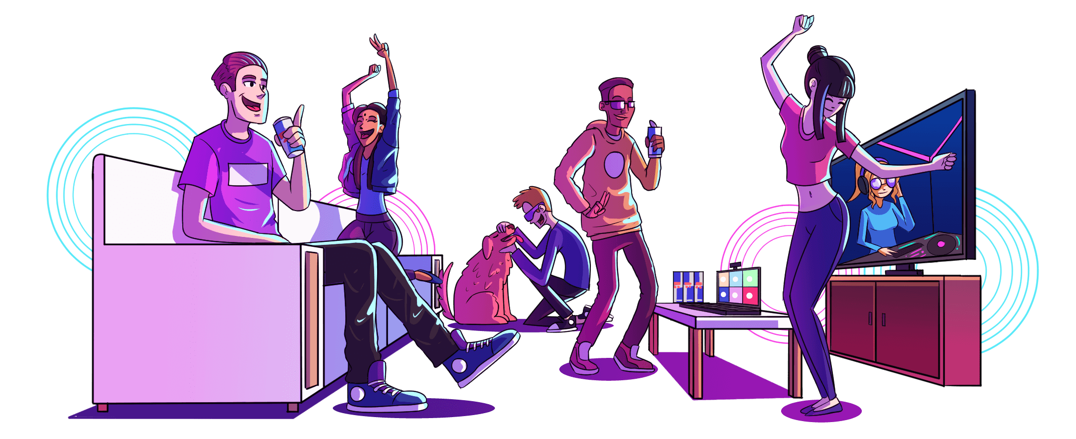 An illustration displaying a diverse group of 5 friends and a dog having fun watching Cyber Rave livestream together at a viewing party.