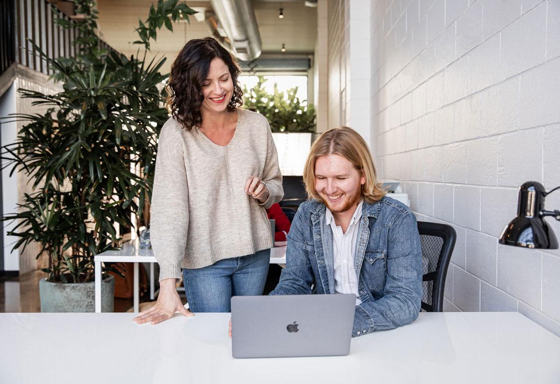 Slavka and Mitch on the laptop