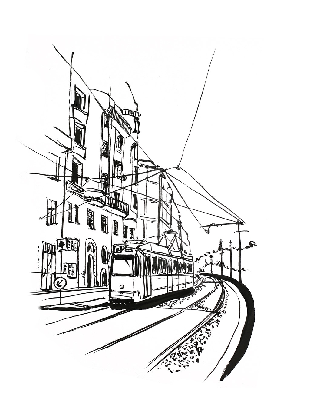 Carol Goh : Tram  Ink Illustration