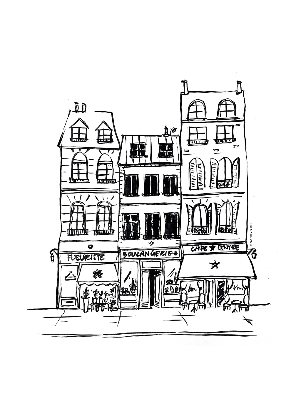 Carol Goh : Paris Street Ink Illustration