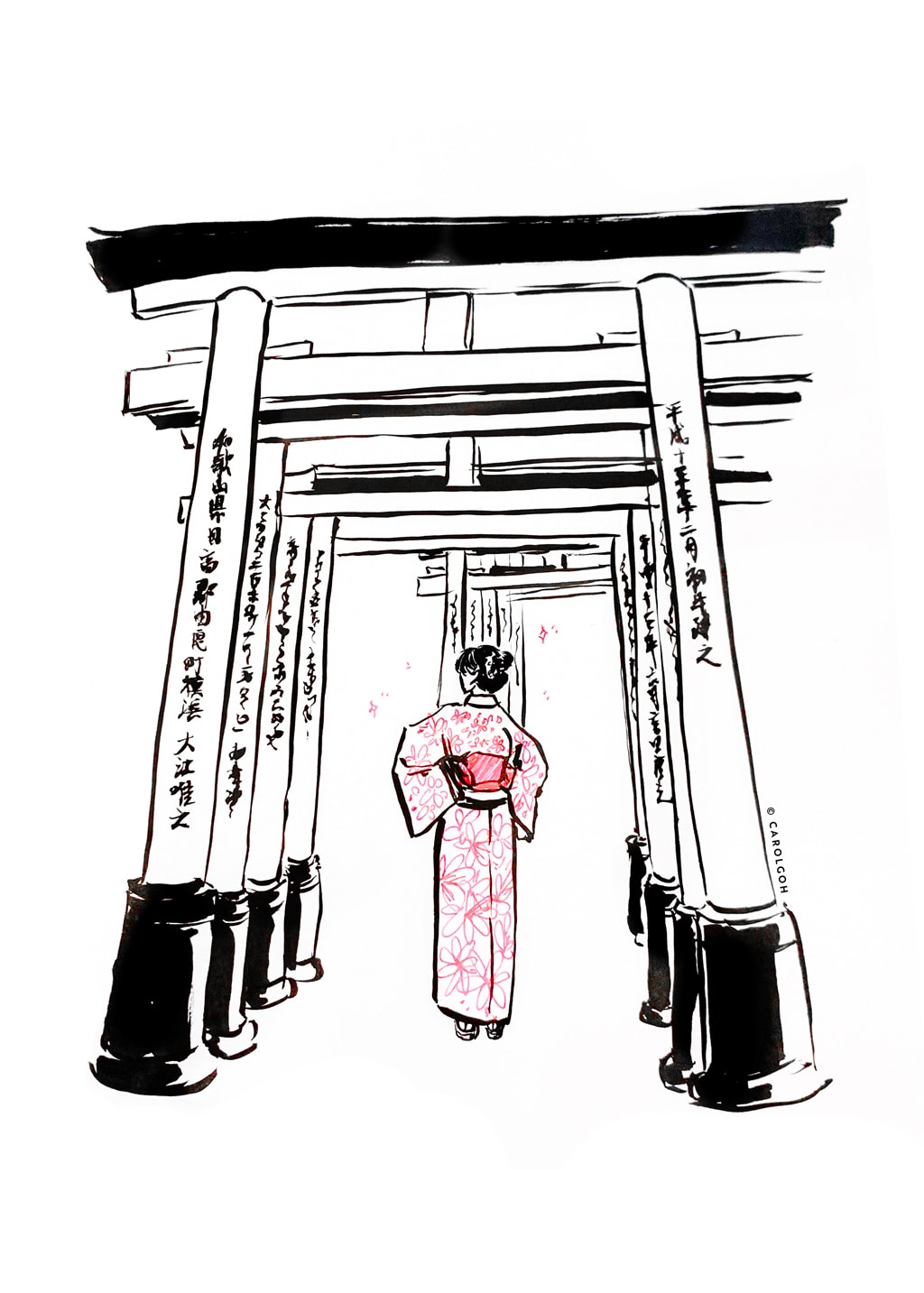 Carol Goh : Black Ink Fushimi Inari Illustration