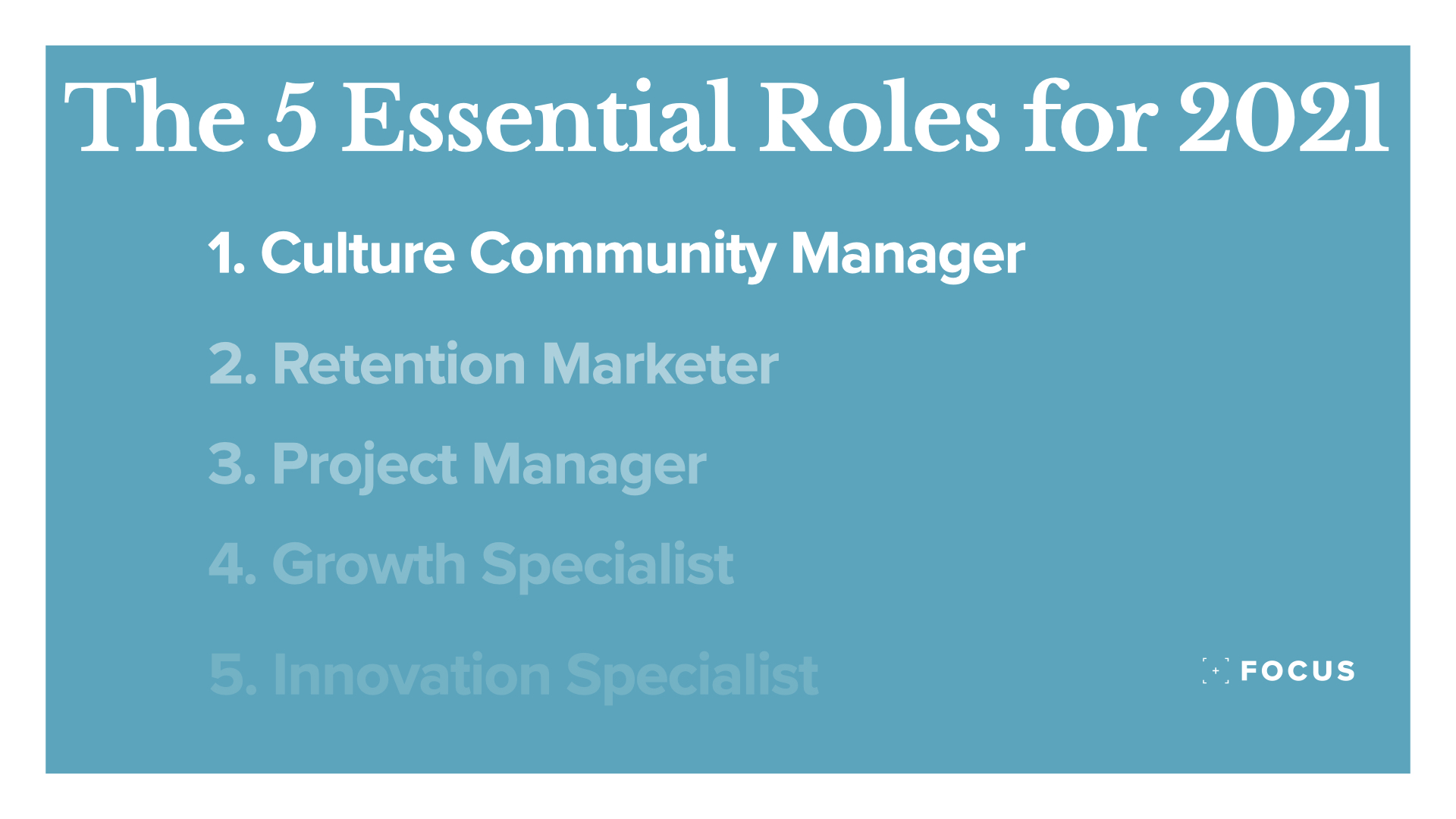 Culture community manager & The essential roles for 2021