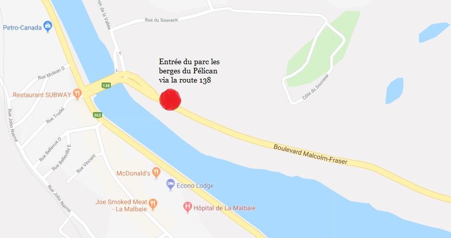 Carte de l'entrée du parc des berges du Pélican