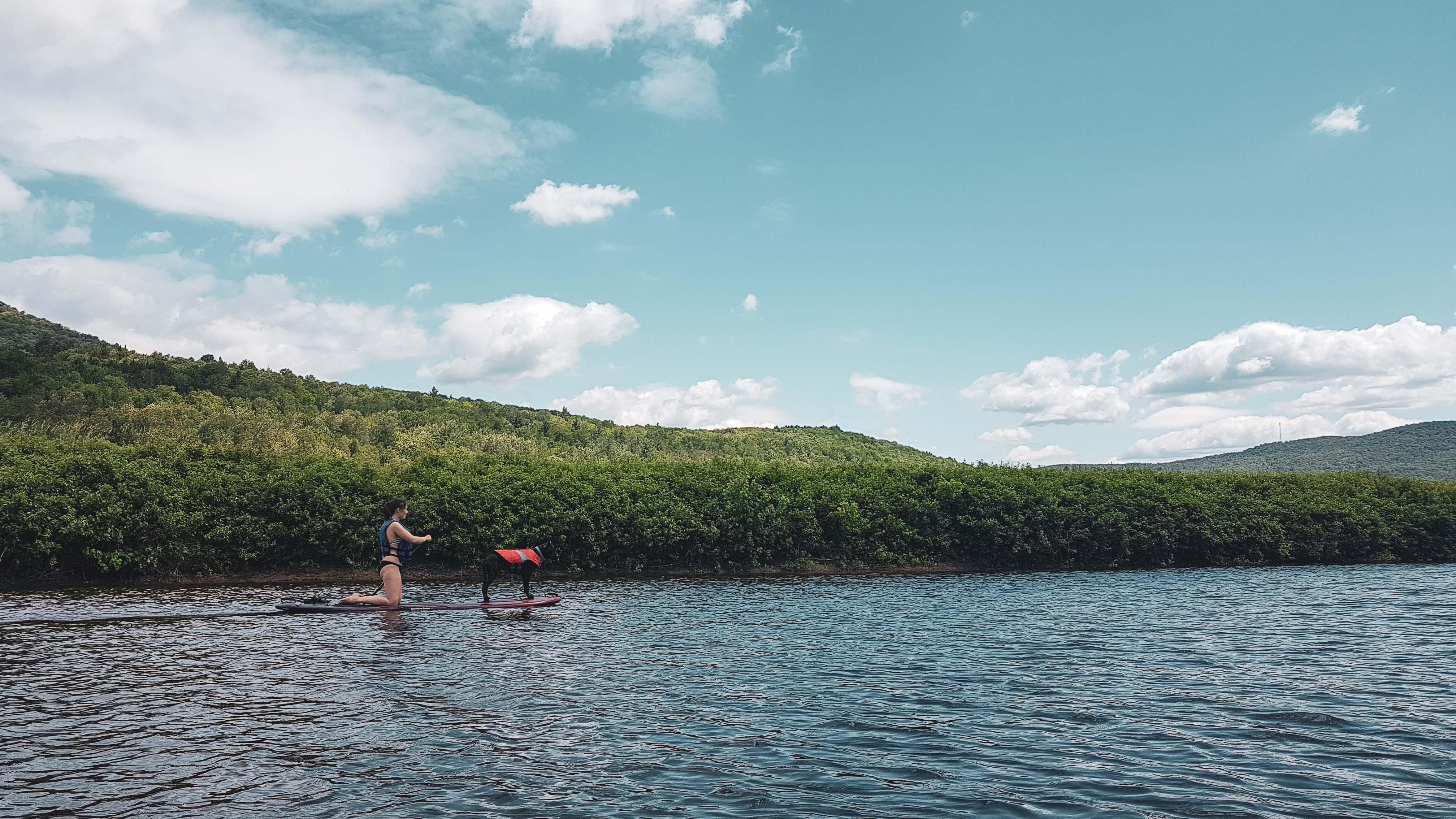 Enzo et Audrée sont sur un paddleboard sur la rivière. Derrière se trouvent des arbres. Audrée est sur ses genoux, Enzo porte une veste de flottaison orange. Les deux regarde vers l'avant.