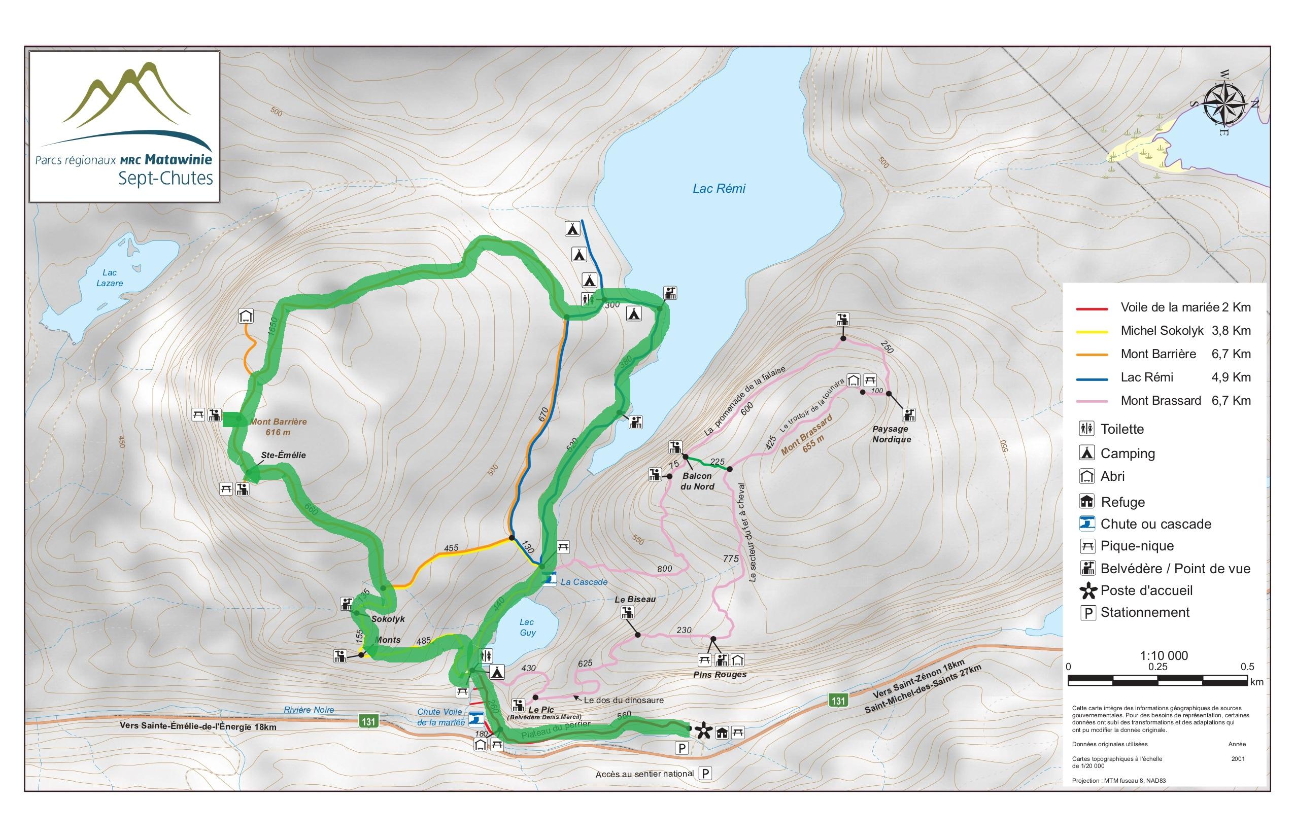Carte du sentier du mont barrière