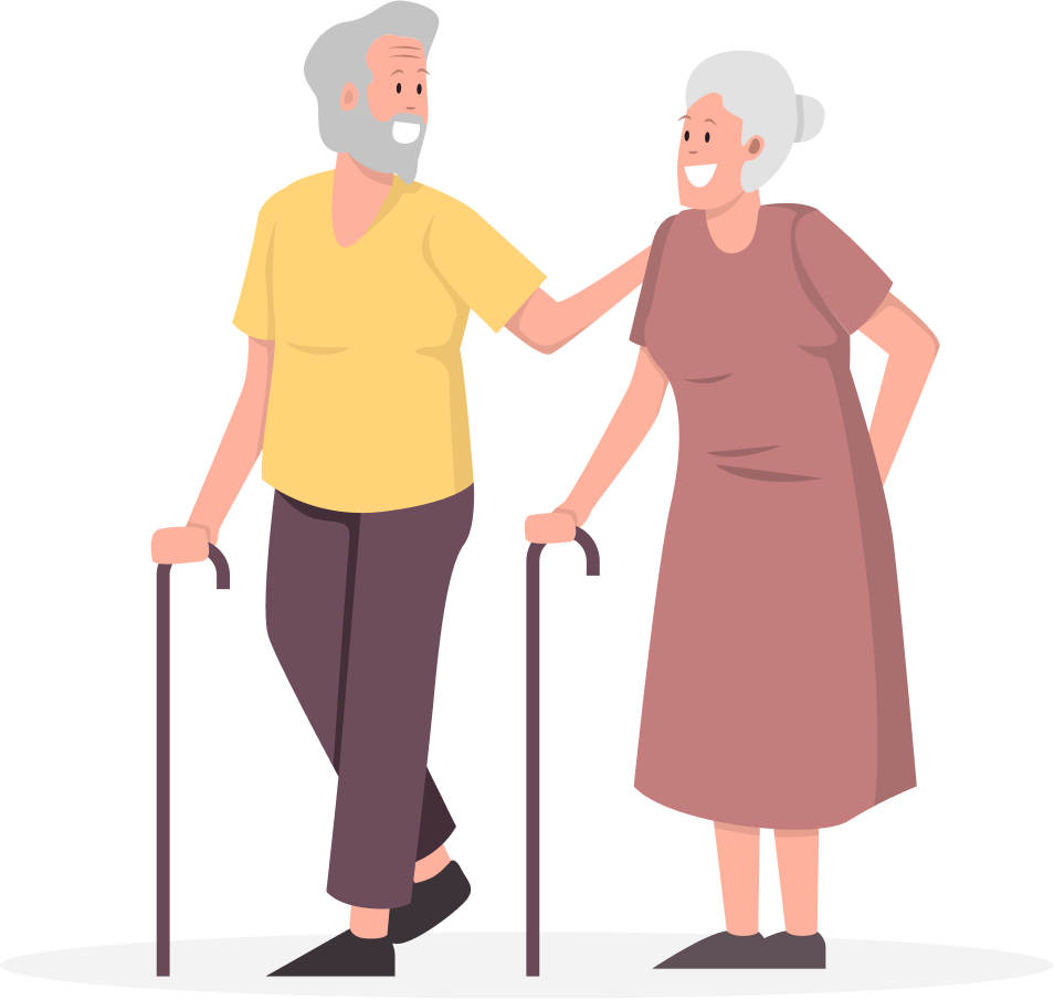Elderly man a woman walking with sticks smiling at each other
