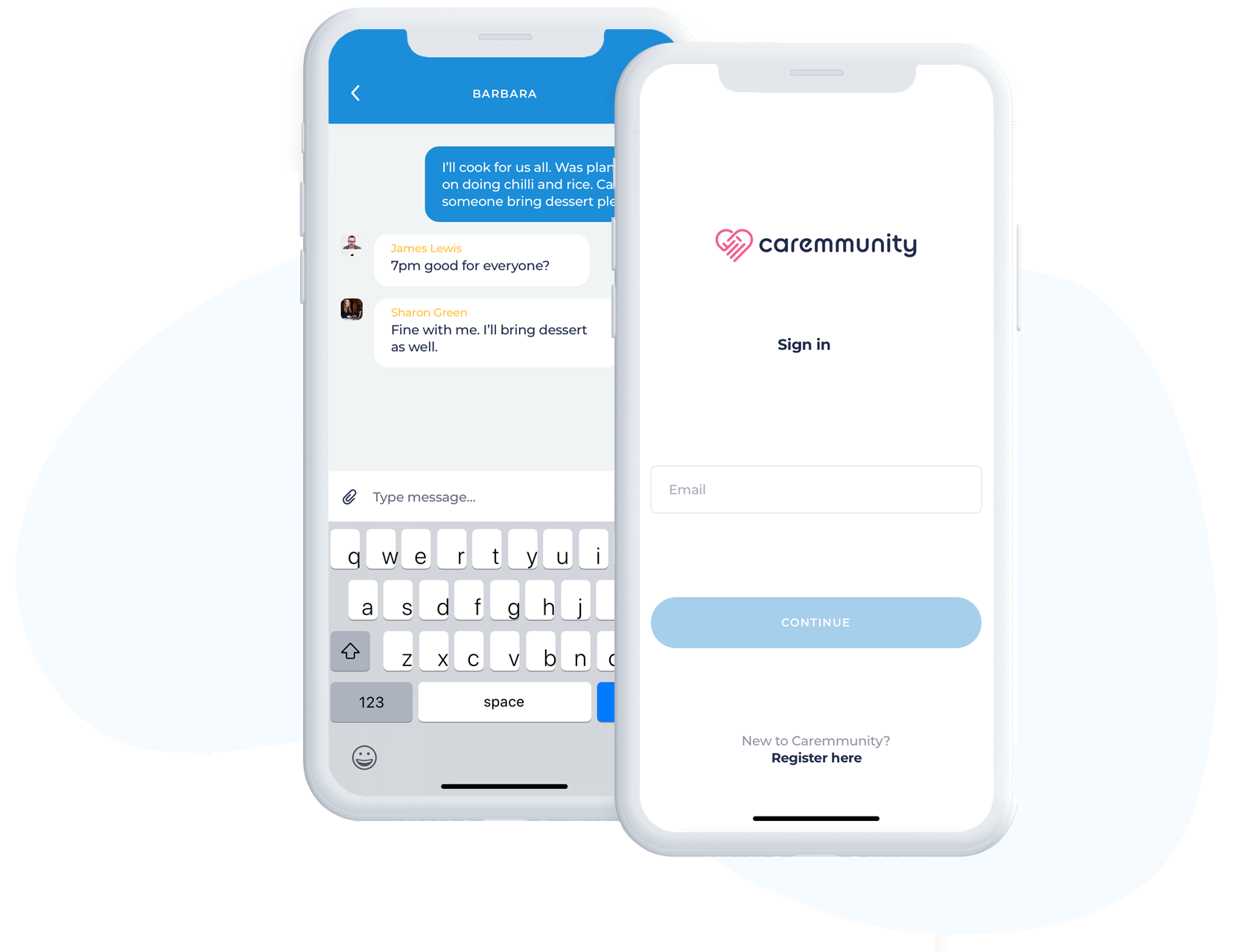 Screen shot of login screen and chat screen of Caremmunity app