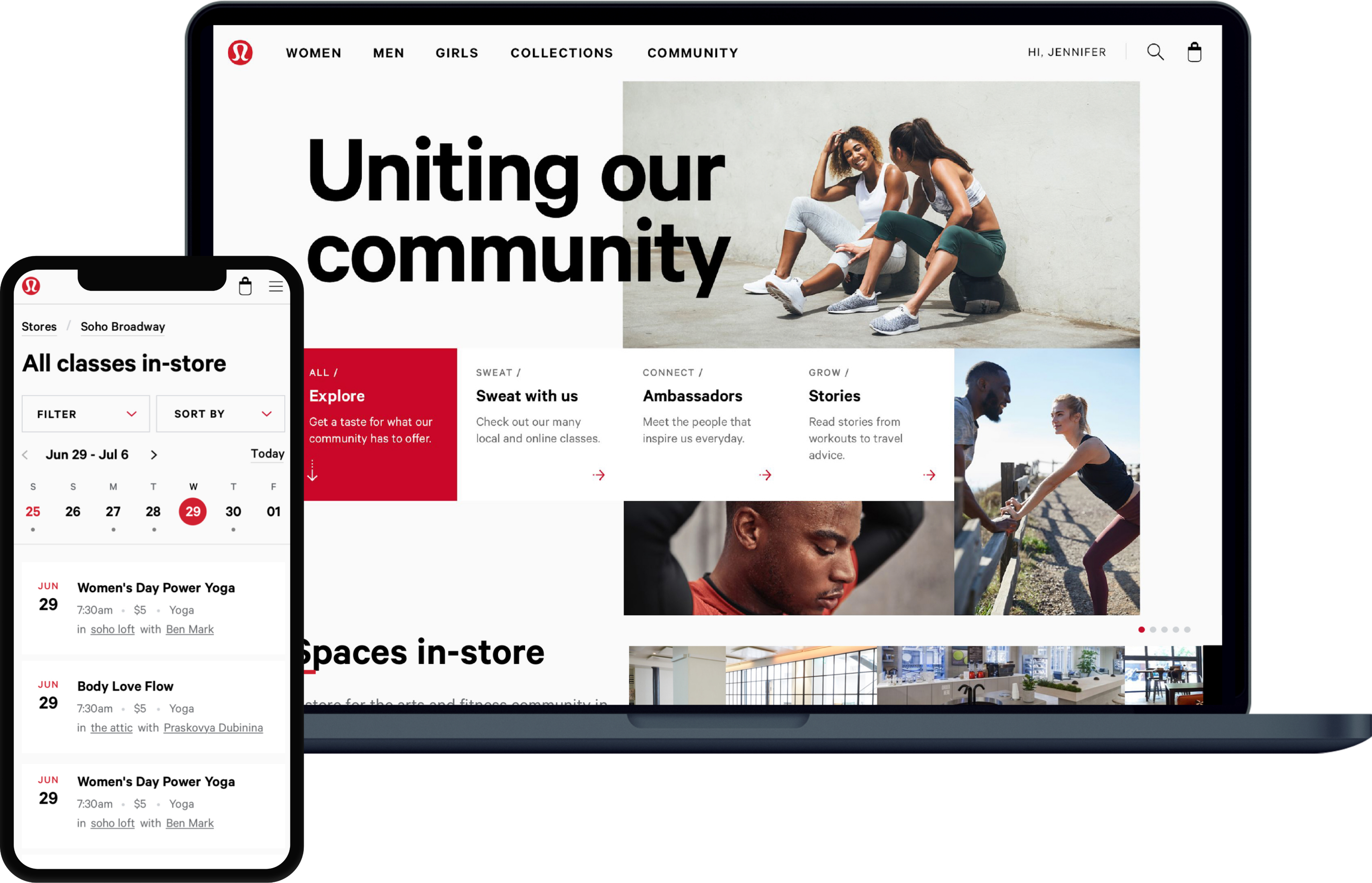Feature image of the Sweatlife Community design within an iPhone frame overplayed on a MacBook Pro