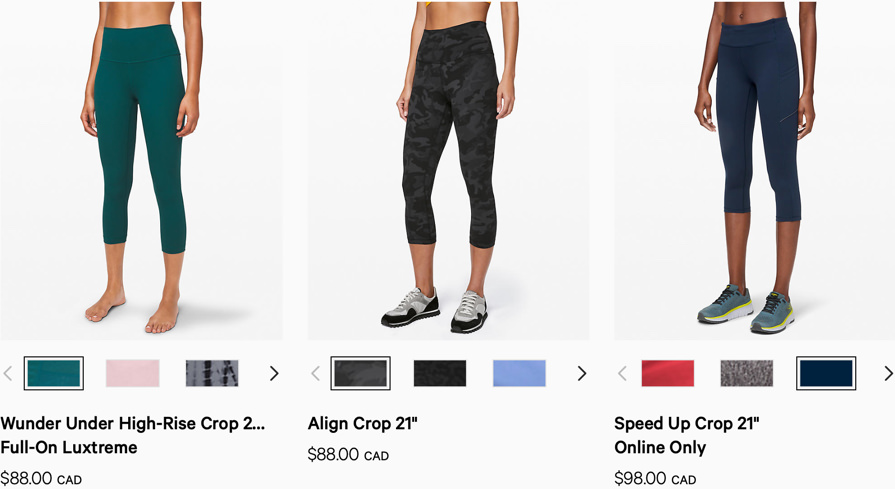 "Screenshot of lululemon's category description page for ""crops"""