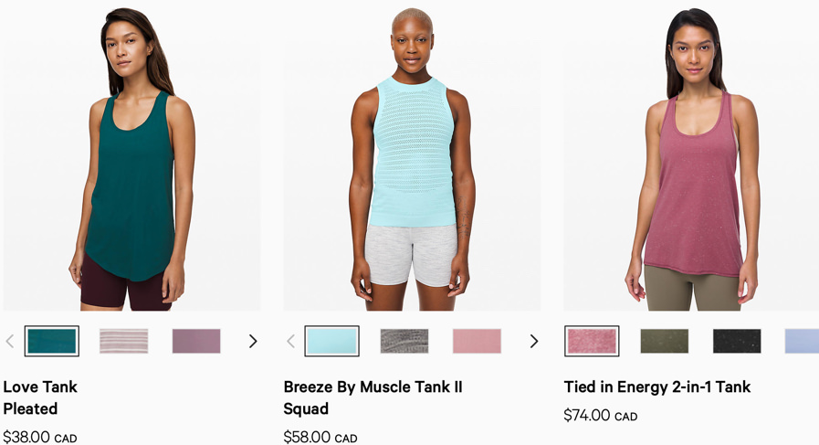 "Screenshot of lululemon's category description page for ""tanks"""