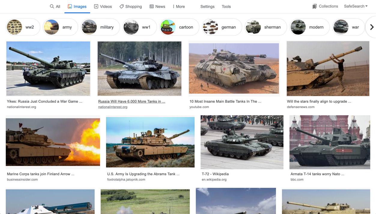 "Screenshot of Google Image search results for ""tanks"""