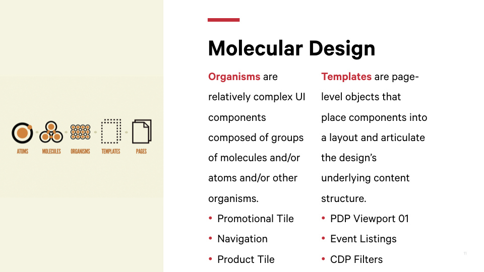 Examples of Organisms and Templates from Atomic Design