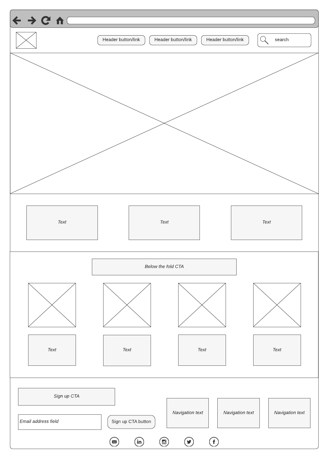 Simple wireframe example (source: LucidChart)