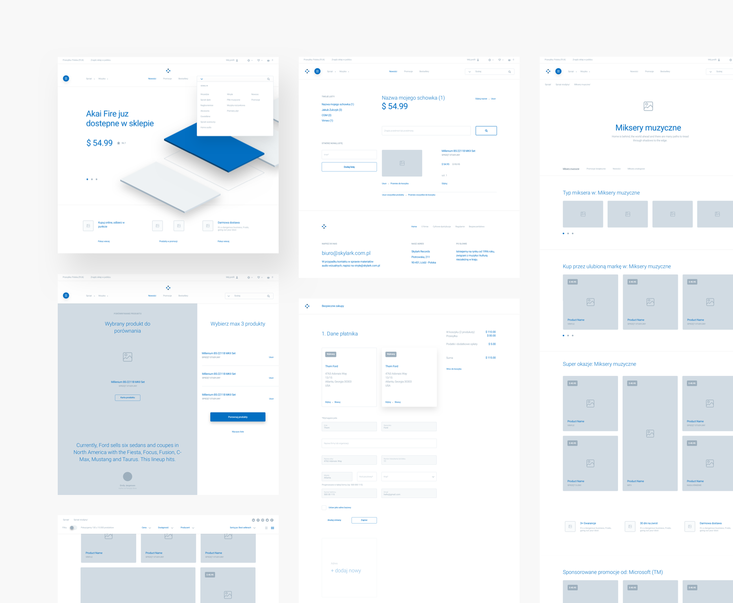 High-fidelity wireframe example with color