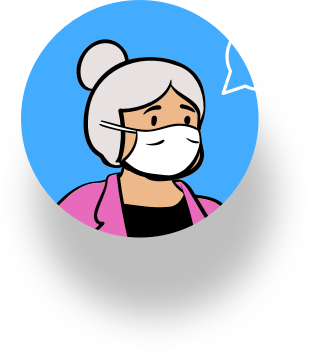 Illustration of womans face with mask on.