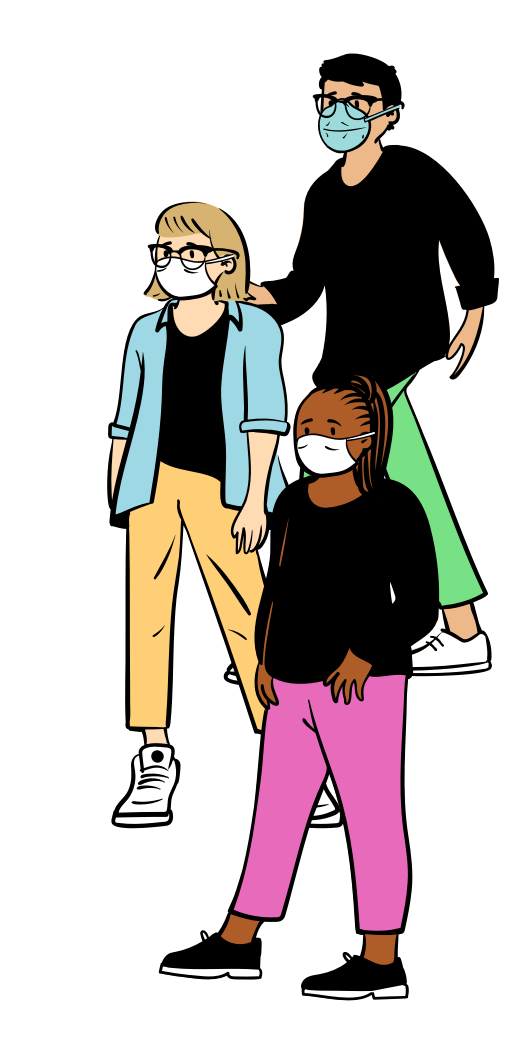 Illustration of people with masks on