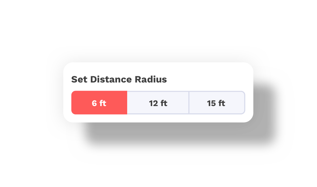 Example of setting your distance radius on settings page of app