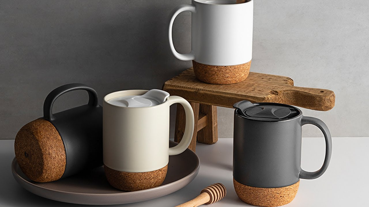 DOWAN Ceramic Mugs with Insulated Cork and Mug Lid(15 oz,Set of 2 ...