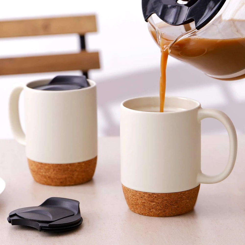 DOWAN 15-Ounce Large Ceramic Coffee Mugs with Insulated Cork ...