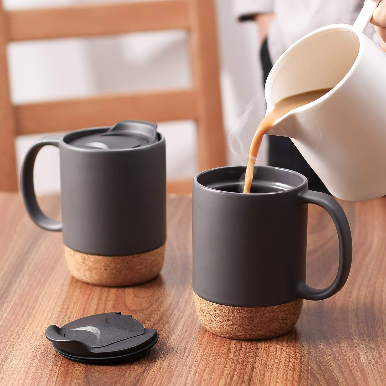 15 Oz Coffee Mug Set: 2 Pcs Reusable 15 ounces large coffee mug ...