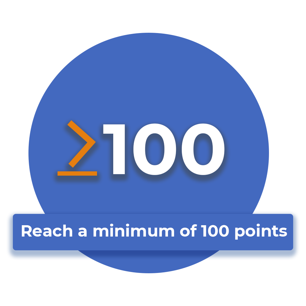 reach a minimum of 100 points