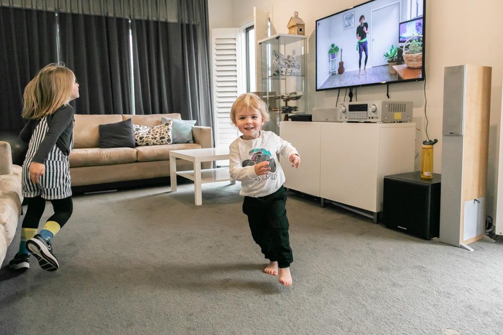 Secret Ninja School kids in action in loungeroom