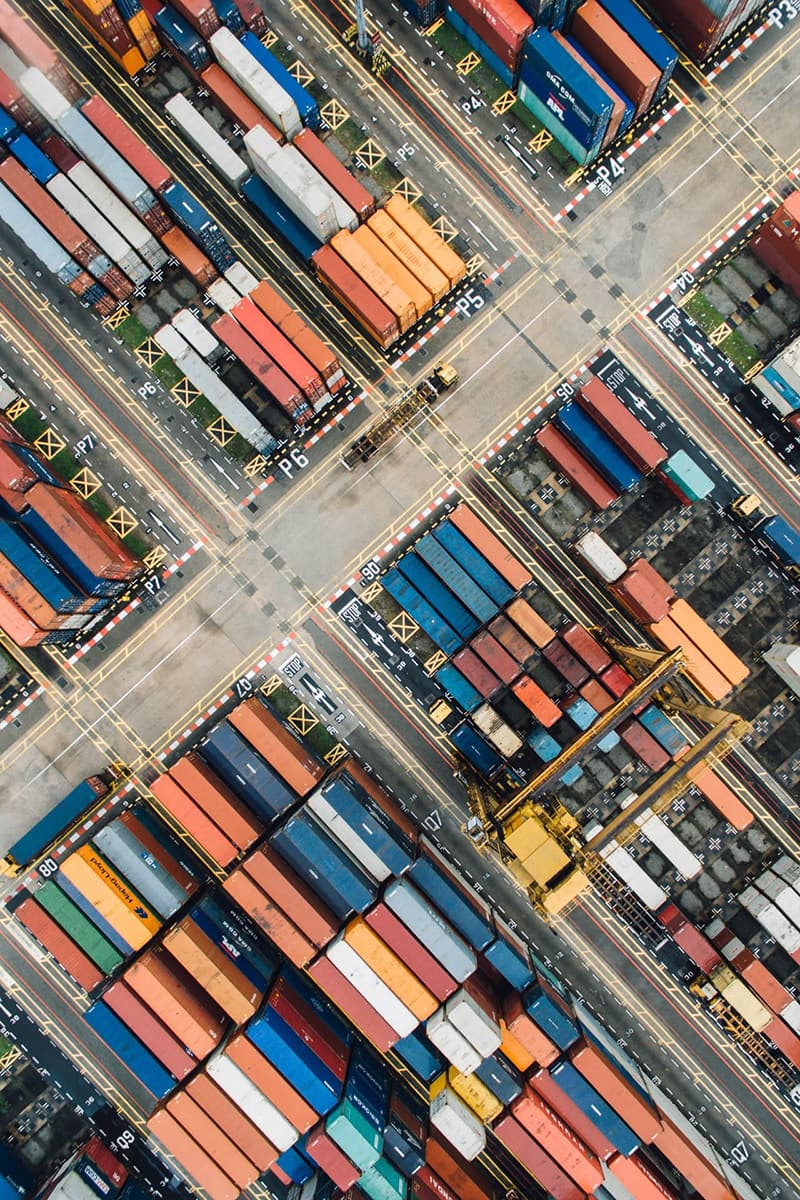 Bird's eye view of shipping containers