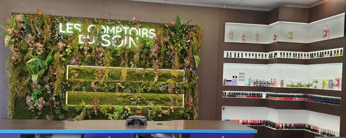 les comptoirs du soin, mur végétal