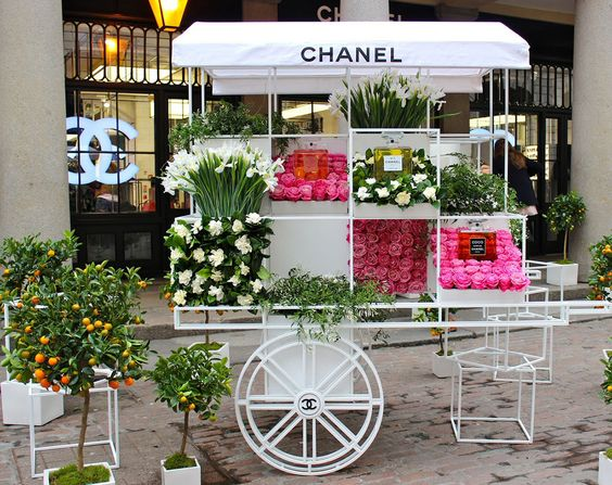 Parfums Chanel mis en avant avec les fleurs